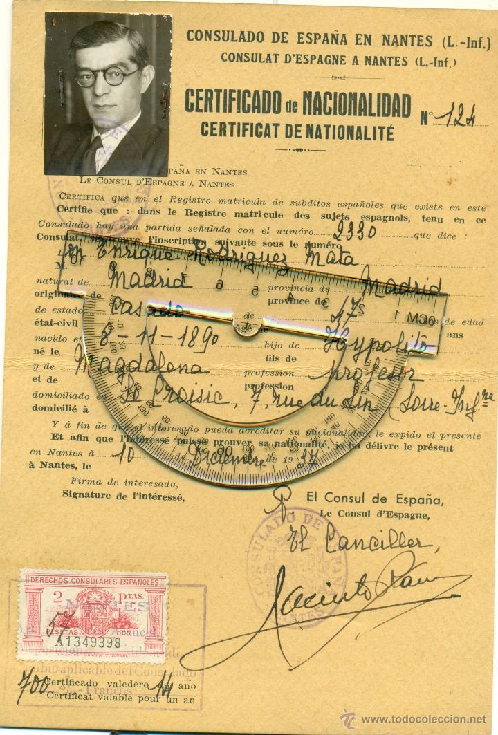 CERTIFICADO NACIONALIDAD 1937.E. RODRIGUEZ MATA.CATEDRÁTICO UNIVERSIDAD. SUBSECRETARIO II REPÚBLICA. (Coleccionismo - Documentos - Otros documentos)