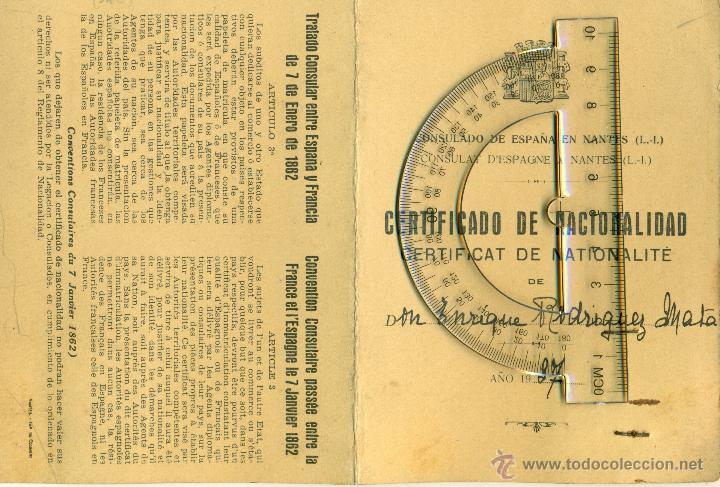 Documentos antiguos: CERTIFICADO NACIONALIDAD 1937.E. RODRIGUEZ MATA.CATEDRÁTICO UNIVERSIDAD. SUBSECRETARIO II REPÚBLICA. - Foto 2 - 48553267