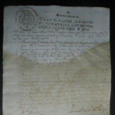 Documentos antiguos: TIMBRADO PAPEL FISCAL SELLO CUARTO CUARENTA MARAVEDIS AÑO 1816. Lote 48553627