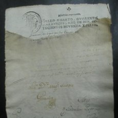 Documentos antiguos: TIMBRADO PAPEL FISCAL SELLO CUARTO CUARENTA MARAVEDIS AÑO 1797. Lote 48569602