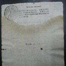 Documentos antiguos: TIMBRADO PAPEL FISCAL SELLO CUARTO CUARENTA MARAVEDIS AÑO 1791. Lote 48570084