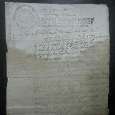 Documentos antiguos: TIMBRADO PAPEL FISCAL SELLO CUARTO CUARENTA MARAVEDIS AÑO 1816. Lote 48570404