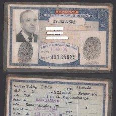 Documentos antiguos: DNI 37.918.985 - C10-2 - CARNET DE IDENTIDAD EXPEDIDO EN BARCELONA EL 25-OCT-1973 - PERTENECIENTE. Lote 48594774