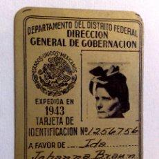 Documentos antiguos: DOCUMENTO DE IDENTIDAD-D.N.I. ¡¡METÁLICO!!,EXPEDIDA 1943 EN MEXICO (DESCRIPCIÓN). Lote 48672606