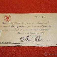 Documentos antiguos: RECIBO DE SOCIO CASINO MURCIA 1928 CON SELLO FISCAL Y SELLO TAMPON EN ROJO. Lote 48725095