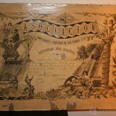 Documentos antiguos: TITULO SOCIO FERROCARRILES DE ESPAÑA AÑO 1903.MIDE 65 X 43 CMS.TRENES,RENFE, TRENES. Lote 48894234