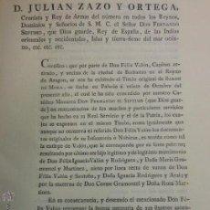 Documentos antiguos: 1817 DOCUMENTO DE BARBASTRO HUESCA ARAGON CERTIFICO JULIAN ZAZO Y ORTEGA - FERNANDO VII TITULO BARON. Lote 258252385