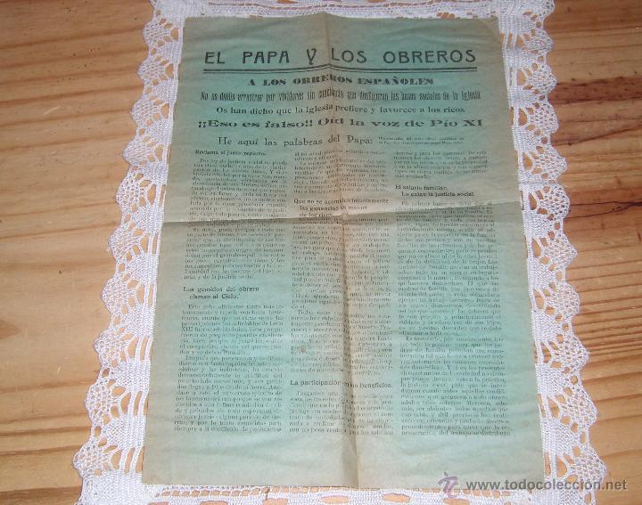 ANTIGUA Y CURIOSA PUBLICACION SOBRE EL PAPA PIO XI: EL PAPA Y LOS OBREROS (Coleccionismo - Documentos - Otros documentos)
