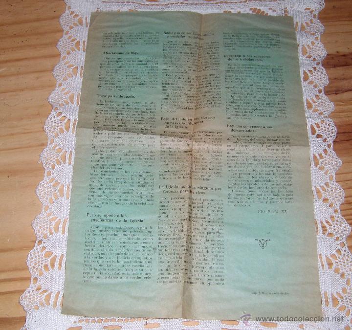 Documentos antiguos: ANTIGUA Y CURIOSA PUBLICACION SOBRE EL PAPA PIO XI: EL PAPA Y LOS OBREROS - Foto 2 - 48970407