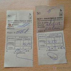 Documentos antiguos: LOTE 2 TICKETS BILLETE DE VIAJEROS POR AUTOMOVIL AÑO 1964. Lote 49028740