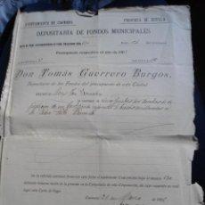 Documentos antiguos: ANTIGUO DOCUMENTO AYUNTAMIENTO CARMONA - SEVILLA - DEPOSITARIA DE FONDOS MUNICIPALES - 1905. Lote 49098860