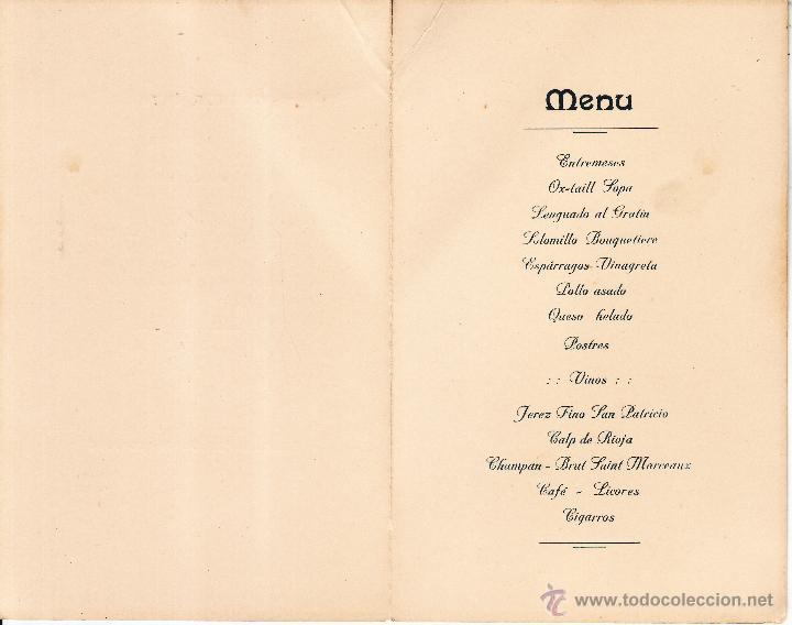 Documentos antiguos: MENU COMIDA INTIMA CELEBRADA SEVILLA 1916 HONOR EXCMO SR. D. ANTONIO LOPEZ PLATA - SENADOR DEL REINO - Foto 2 - 49140946