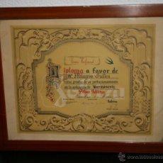 Documentos antiguos: DIPLOMA PLUS ULTRA DE UNA MUJER, BARCELONA 1 DE MARZO DE 1951, CON MARCO Y CRISTAL. Lote 49204539