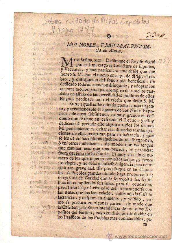 PASE FORAL SOBRE REAL CEDULA SOBRE CUIDADO DE NIÑOS EXPOSITOS. VITORIA. AÑO 1787 (Coleccionismo - Documentos - Otros documentos)
