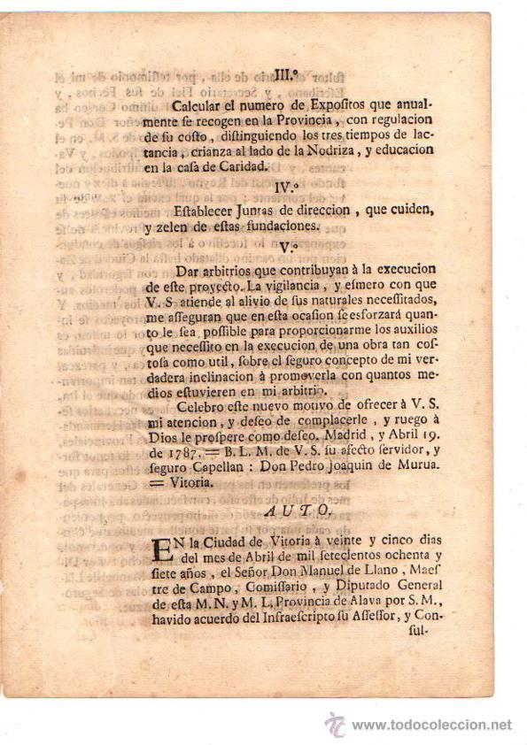 Documentos antiguos: PASE FORAL SOBRE REAL CEDULA SOBRE CUIDADO DE NIÑOS EXPOSITOS. VITORIA. AÑO 1787 - Foto 3 - 49230647