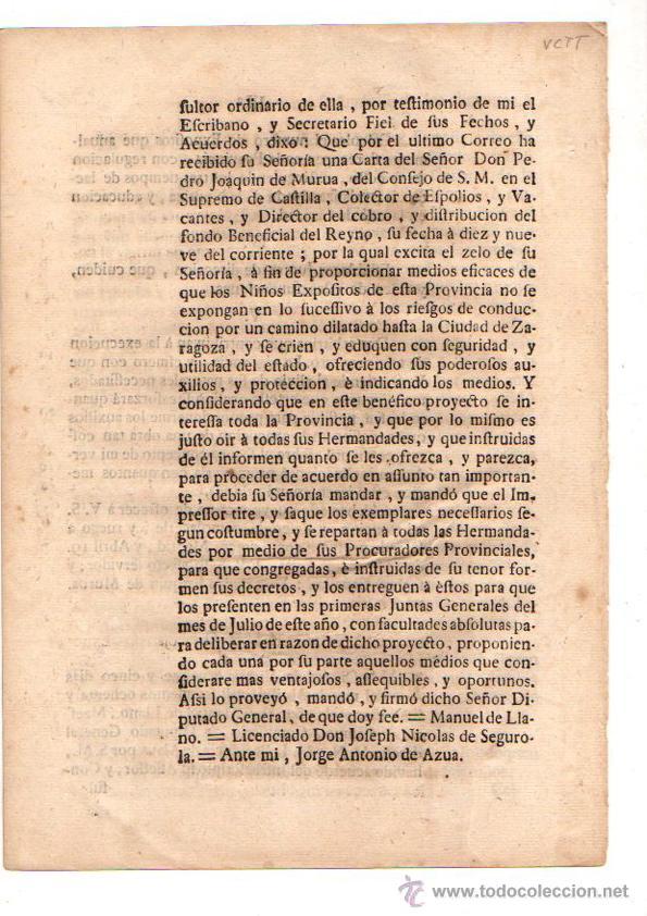 Documentos antiguos: PASE FORAL SOBRE REAL CEDULA SOBRE CUIDADO DE NIÑOS EXPOSITOS. VITORIA. AÑO 1787 - Foto 4 - 49230647
