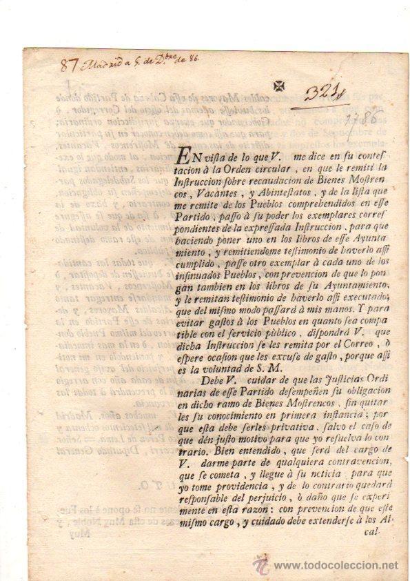 PASE FORAL SOBRE REAL CEDULA SOBRE RECAUDACION DE BIENES MOSTRENCOS. VITORIA. ALAVA. AÑO 1786 (Coleccionismo - Documentos - Otros documentos)
