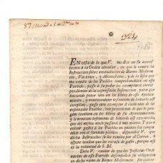 Documentos antiguos: PASE FORAL SOBRE REAL CEDULA SOBRE RECAUDACION DE BIENES MOSTRENCOS. VITORIA. ALAVA. AÑO 1786. Lote 49230733