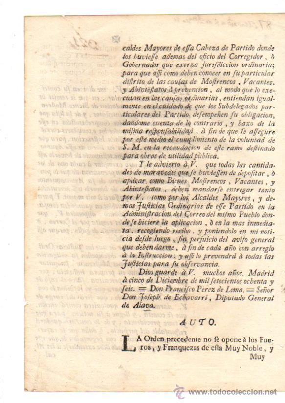 Documentos antiguos: PASE FORAL SOBRE REAL CEDULA SOBRE RECAUDACION DE BIENES MOSTRENCOS. VITORIA. ALAVA. AÑO 1786 - Foto 2 - 49230733