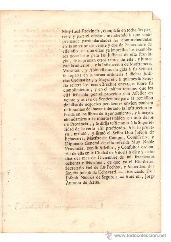 Documentos antiguos: PASE FORAL SOBRE REAL CEDULA SOBRE RECAUDACION DE BIENES MOSTRENCOS. VITORIA. ALAVA. AÑO 1786 - Foto 3 - 49230733