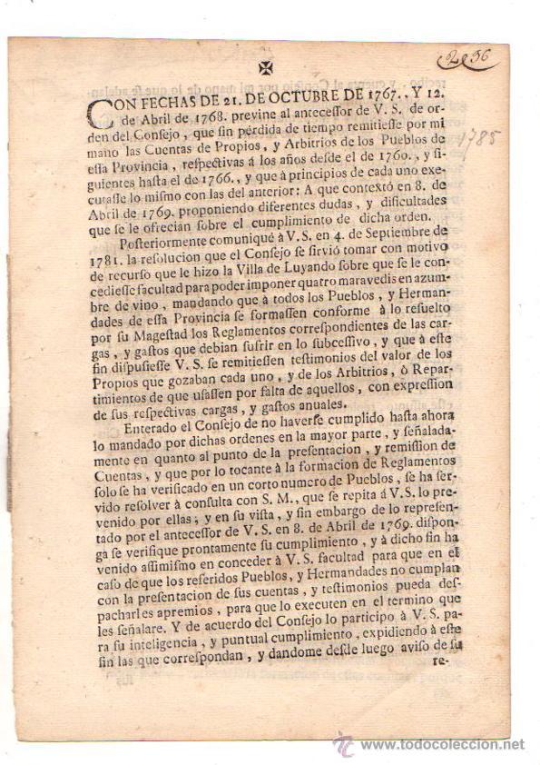 PASE FORAL SOBRE ARBITRIOS VITORIA. ALAVA. AÑO 1785 (Coleccionismo - Documentos - Otros documentos)