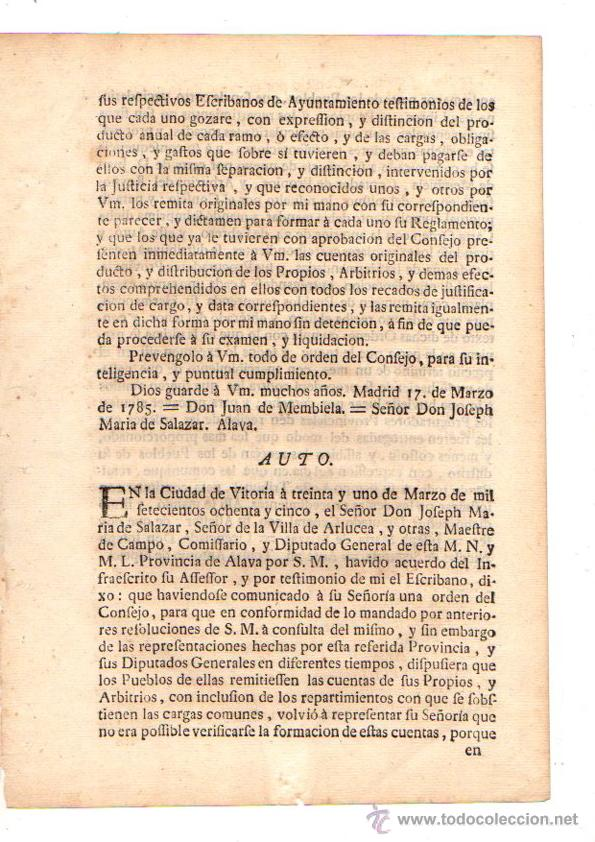 Documentos antiguos: PASE FORAL SOBRE ARBITRIOS VITORIA. ALAVA. AÑO 1785 - Foto 3 - 49244559