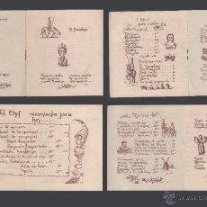 Documentos antiguos: 0178 TEMA DON QUIJOTE - CARTA MENÚ, DE 8 PAGINAS,DEL RESTAURANTE EL MANCHEGO - . Lote 49330352