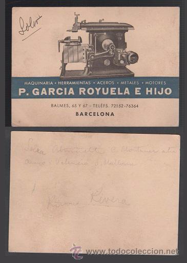 0178 TARJETA DE VISITA DE P. GARCIA ROYUELA E HIJO, DE BARCELONA -MAQUINARIA - HERRAMIENTAS Y MOTORE (Coleccionismo - Documentos - Otros documentos)