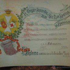 Documentos antiguos: DIPLOMA DE GRATITUD CRUZ ROJA 1913.. Lote 49358141