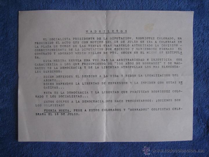 FUERZA NUEVA. OCTAVILLA CONTRA LA PROHIBICIÓN DEL ACTO DEL 18 DE JULIO EN MADRID (Coleccionismo - Documentos - Otros documentos)