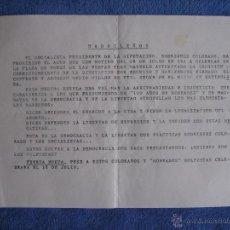 Documentos antiguos: FUERZA NUEVA. OCTAVILLA CONTRA LA PROHIBICIÓN DEL ACTO DEL 18 DE JULIO EN MADRID. Lote 49487934