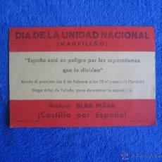 Documentos antiguos: FUERZA NUEVA. OCTAVILLA PARA MITIN BLAS PIÑAR. TOLEDO.. Lote 49488054