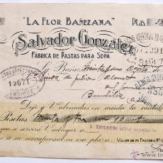 Documentos antiguos: LETRA DE CAMBIO FACTURA FABRICA DE PASTAS PARA SOPA LA FLOR BAÑEZANA. SALVADOR GONZALEZ. LEÓN 1929. Lote 49554715