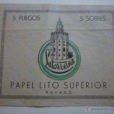 Documentos antiguos: SOBRE DE LATORRESA. PAPEL LITO SUPERIOR. RAYADO.. Lote 49590434