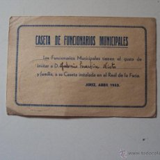 Documentos antiguos: INVITACION A LA FERIA DE ABRIL DE JEREZ AÑO 1953. Lote 49597876