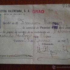Alte Dokumente - 1929 VALENCIA. RECIBO ELECTRA VALENCIANA. MALVARROSA - 49605214
