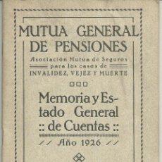 Documentos antiguos: MUTUA INDUSTRIAL I COMERCIAL DE BARCELONA INCENDIS MEMORIA 1926. Lote 49619309
