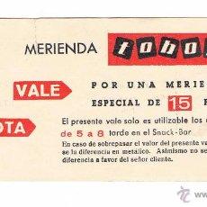 Documentos antiguos: TICKET VALE POR UNA MERIENDA TOBOGAN PLAZA REAL 1965 ANTIGUO RARO CURIOSO. Lote 49638856