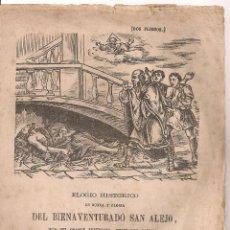 Documentos antiguos: ELOGIO HISTORICO...DEL BIENAVENTURADO SAN ALEJO... MADRID : IMP. MARES, 1866. 22X16CM. 8 P.. Lote 49657133