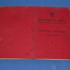 Documentos antiguos: CARNET - CARTA IDENTIDAD ESCOLAR - UNIVERSIDAD SEVILLA - 1944 - MEDICINA 1943/44. Lote 49758270