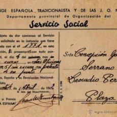 Documentos antiguos: SERVICIO SOCIAL , FALANGE ESPAÑOLA COMUNICACION DE SERVICIO SOCIAL. Lote 49765393