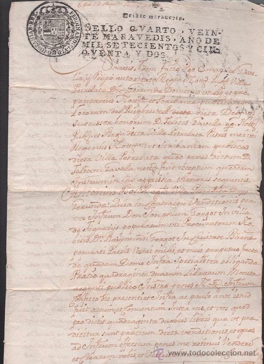 L15-17 SELLO FISCAL SEGUNDO DE FERNANDO VI DE CIENTO TREINTA Y SEIS MARAVEDIS, EN DOCUMENTO DE 10 HO (Coleccionismo - Documentos - Otros documentos)