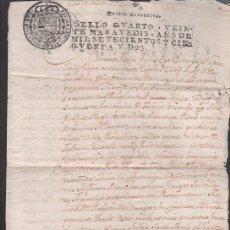 Documentos antiguos: L15-17 SELLO FISCAL SEGUNDO DE FERNANDO VI DE CIENTO TREINTA Y SEIS MARAVEDIS, EN DOCUMENTO DE 10 HO. Lote 25032519