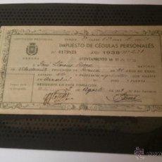 Documentos antiguos: IMPUESTO DE CÉDULAS PERSONALES-AYUNTAMIENTO DE SAUS 1938-DIPUTACIÓN PROVINCIAL GERONA. Lote 49840341