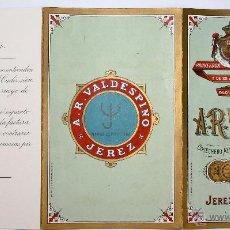 Documentos antiguos: LISTADO DE PRECIOS VINOS A.R. VALDESPINO. JEREZ DE LA FRONTERA. CIRCA 1920. Lote 49841054