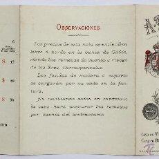 Documentos antiguos: LISTADO DE PRECIOS VINOS A.R. VALDESPINO. JEREZ DE LA FRONTERA. CIRCA 1920. Lote 49841078