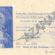 Documentos antiguos: SEMANA SANTA DE SEVILLA,1940, RECIBO CUOTA HERMANDAD DE MONTSERRAT. Lote 49869969