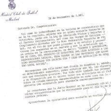 Documentos antiguos: CARTA DEL REAL MADRID A LOS COMPROMISARIOS, QUE ACOMPAÑABA AL PROYECTO DE ESTATUTOS. AÑO 1981.. Lote 49894157