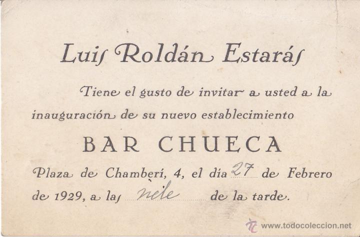 Invitación Inauguración Bar Chueca De Luis Roldán Estarás En Plaza De Chamberí 4 En 1929 Madrid