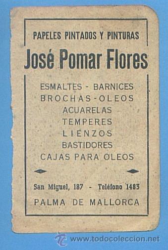 RECORTE PUBLICIDAD PAPELES PINTADOS Y PINTURAS JOSE POMAR FLORES. PALMA MALLORCA 11,5X7,5CM AÑO 1951 (Coleccionismo - Documentos - Otros documentos)